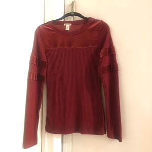 Sweaters - Red knit sweater with velvet stripe